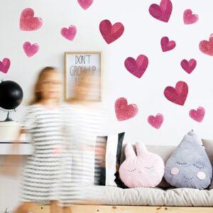 Stickers adhésif déco de coeur rose à coller au mur