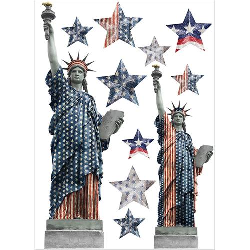 Sticker de la statue de la liberté avec des étoiles du drapeau
