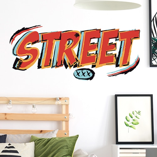 Sticker Planche Graffiti de rue Street mis en ambiance sur un mur blanc