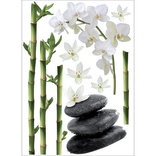 Stickers orchidée art déco Zen Asie avec galets