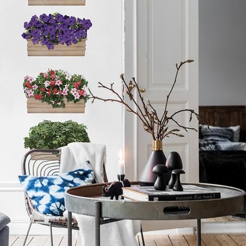 stickers Fleurs au balcon dans un salon au-dessus d'une table
