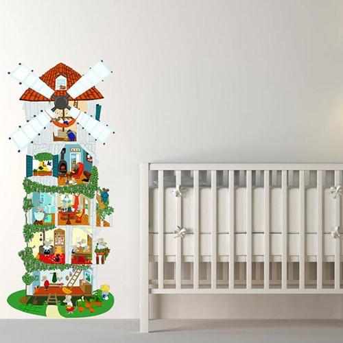 sticker mural autocollant Moulin à Souris pour enfants dans une chambre pour bébé