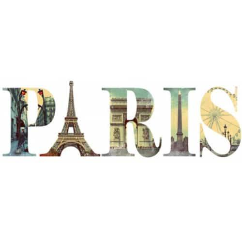 Sticker écritures Paris avec motifs monuments de la ville
