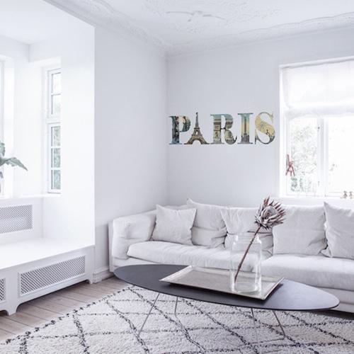 Sticker mural écritures Paris avec motifs monuments de la ville