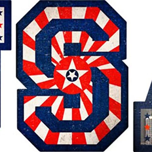 sticker lettres USA avec motifs drapeau des Etats-Unis