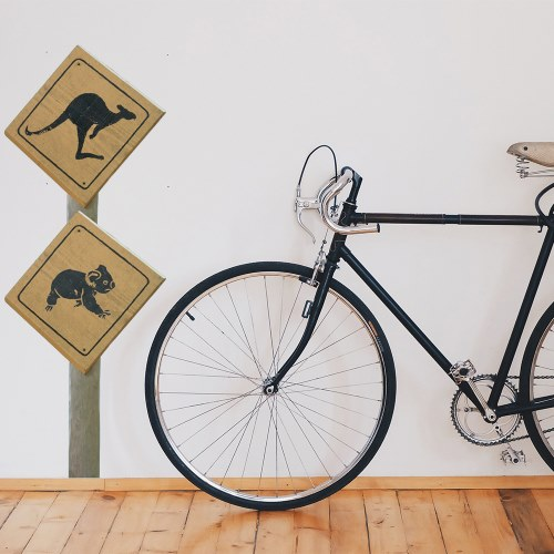 Sticker autocollant Panneau de signalisation Kangourous derrière un vélo