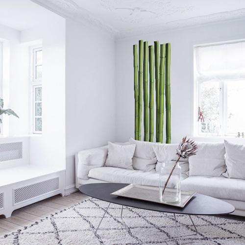 Adhésif mural bambous mis en ambiance sur un mur blanc