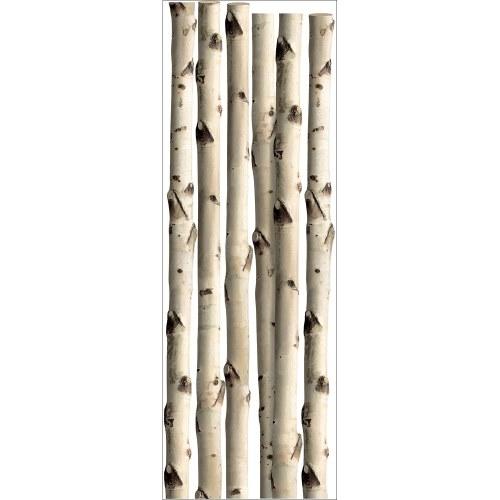 Décoration murale effet bois - 6 troncs de bouleau en trompe-l'oeil