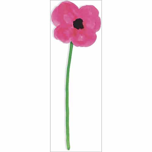 Autocollant coquelicot d'une fleur géante en aquarelle rose