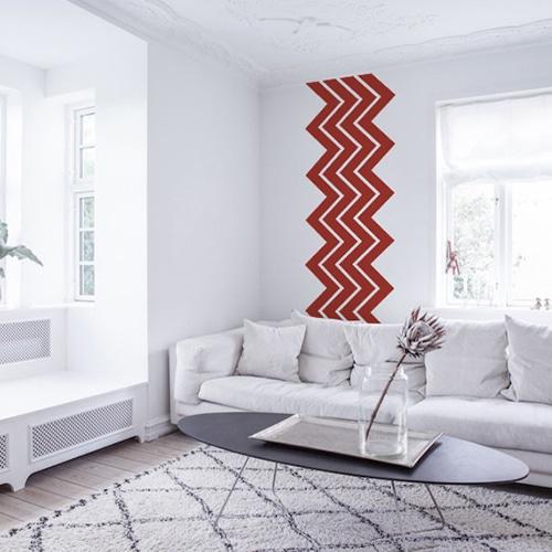 stickers adhésifs Chevrons Rouges dans un salon blanc