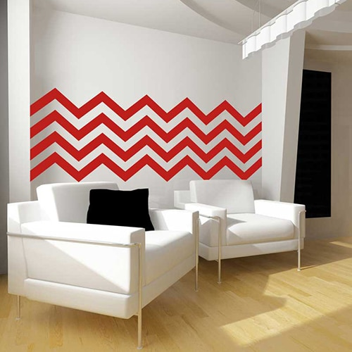 stickers autocollants Chevrons Rouges dans un salon blanc