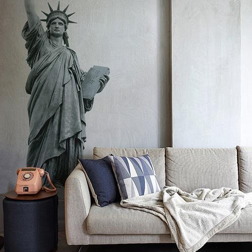 sticker autocollant Statue de la Liberté canapé gris