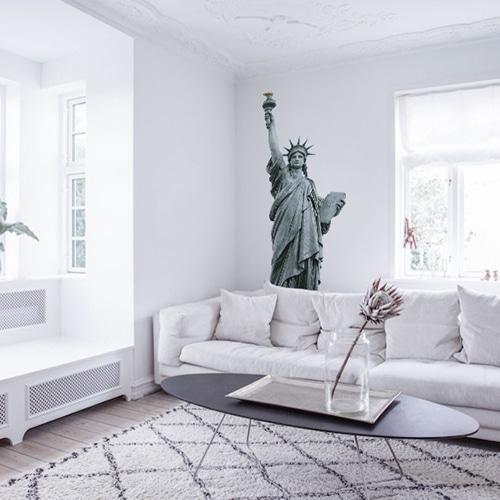 sticker adhésif Statue de la Liberté salon blanc