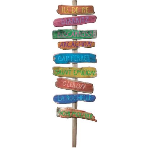 Adhésif de décoration parine - Panneau de signalisation bois flotté avec directions plages de l'Atlantique