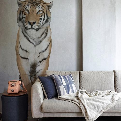 Sticker autocollant Mural Tigre au-dessus d'un canapé gris