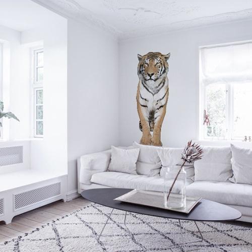 Sticker adhésif Mural Tigre dans un salon blanc