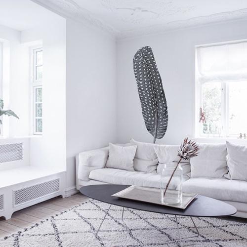 Sticker Mural autocollant Plume dans un salon blanc