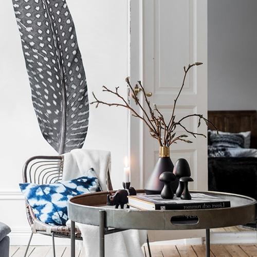 Sticker autocollant Plume dans un salon design