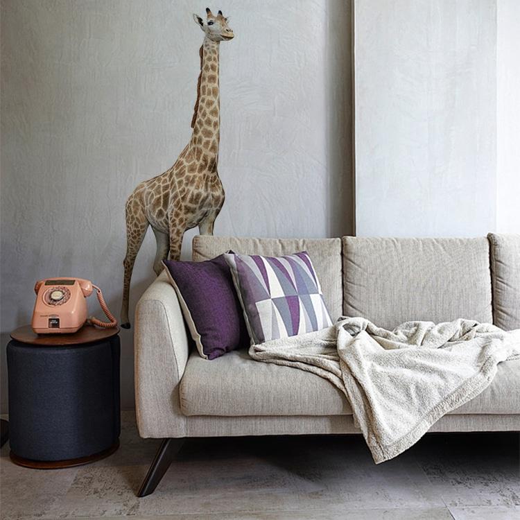 Sticker autocollant Girafe au-dessus d'un canapé gris