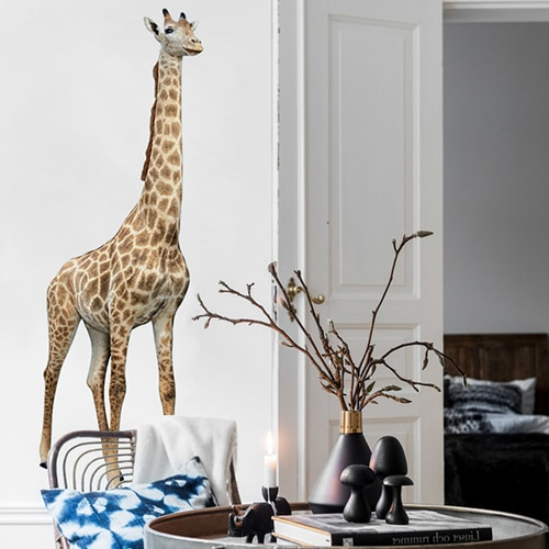 Sticker autocollant Mural Girafe dans un salon design