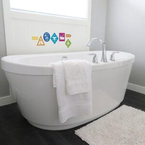 stickers Pictogrammes de surf au-dessus d'une baignoire