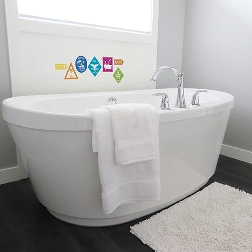 Sticker adhésifs motifs carrés blanc gris noirs pour contremarches