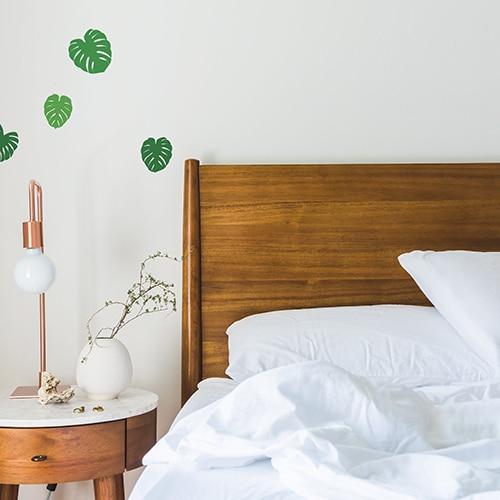 stickers muraux de Feuilles de Monstera dans une chambre