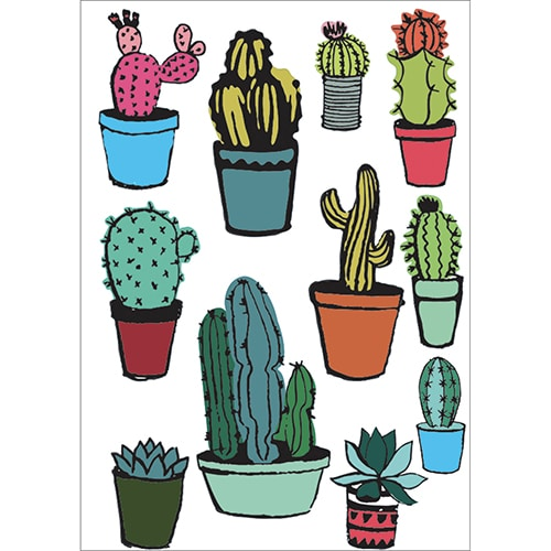 Stickers Mini Cactus prêt à coller
