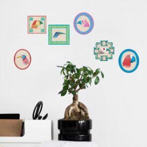 Autocollants muraux style art déco d'Oiseaux Exotiques avec bonzai décoratif