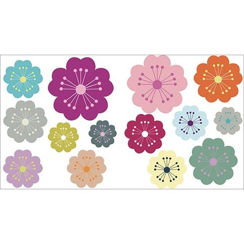 Mini stickers adhésif fleurs stylisées