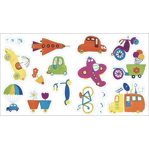 Stickers de dessin machine, fusée, voiture, moto pour enfant