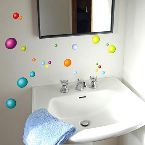 Stickers adhésifs balles colorées pour salle de bain