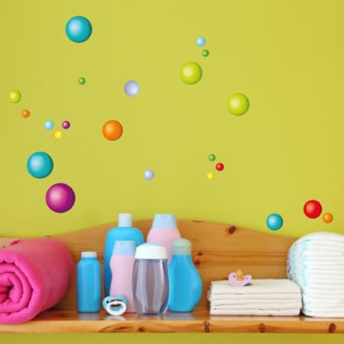 Stickers muraux balles colorées pour salle de bain
