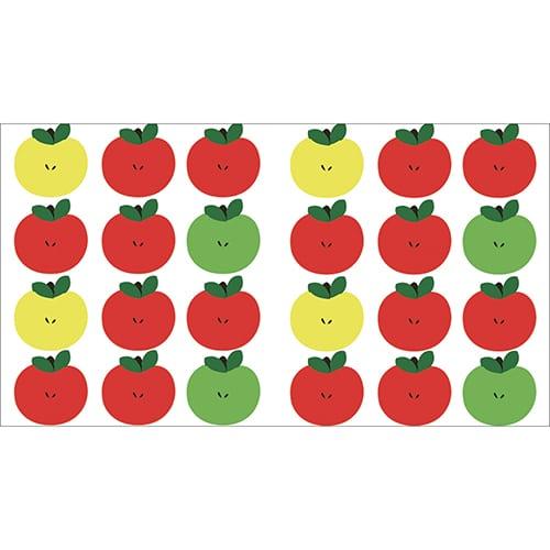 Mini-stickers Pommes jaunes, rouges et vert déco collé sur un ordinateur de bureau