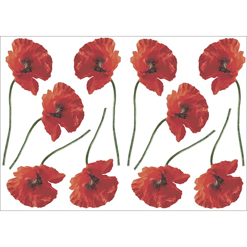 Stickers autocollants Petits Coquelicots Rouges