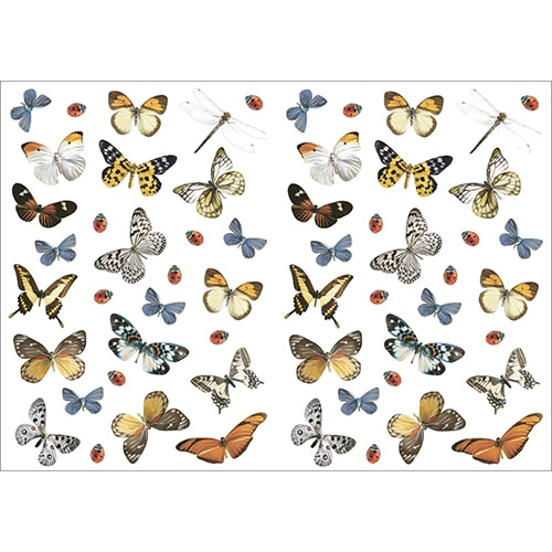 Planche de Stickers Libellules Papillons et Coccinelles à coller au mur
