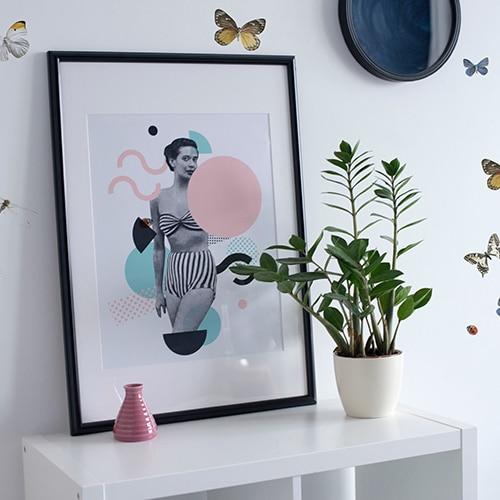 Stickers Libellules Papillons et Coccinelles avec plante décorative et cadre photo