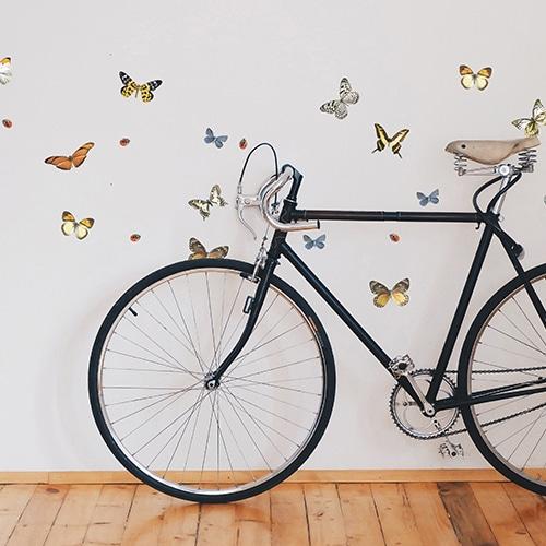 Stickers art déco Libellules Papillons et Coccinelles dans une entrée de maison avec un vélo noir