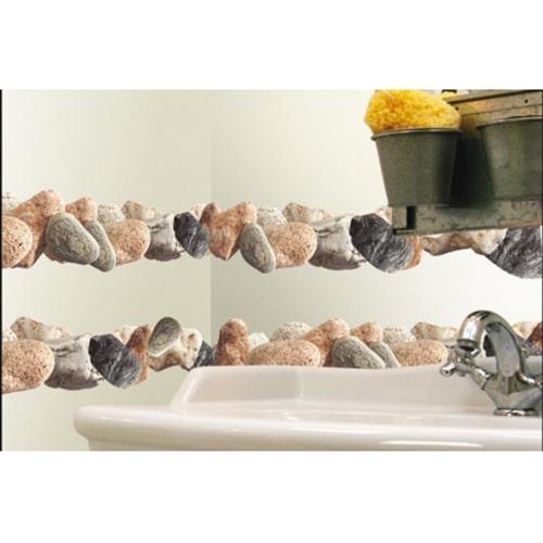 Exemple de disposition d'adhésif galets autour d'un lavabo
