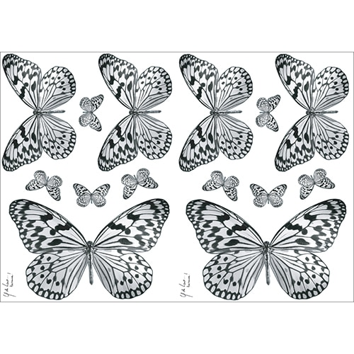 Lot de 14 Stickers à coller de Papillons Noir et blanc