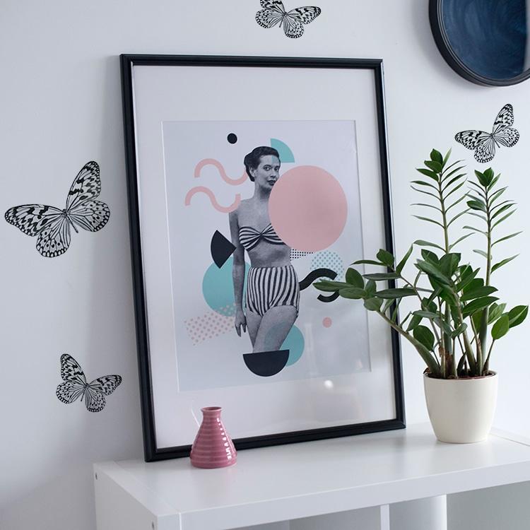 Stickers Papillons Noir et blanc avec plante décorative et cadre photo