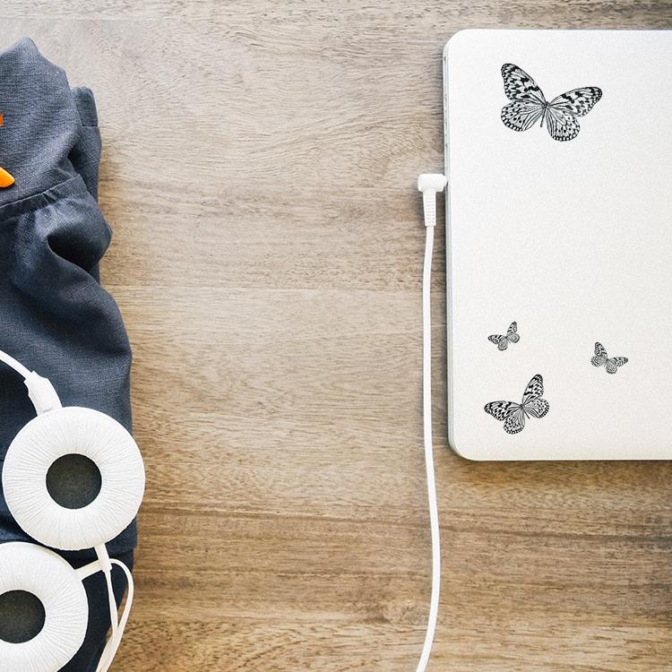 Stickers autocollants Papillons Noir et blanc