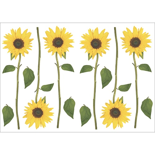 Lot de 6 stickers adhésif de Tournesols