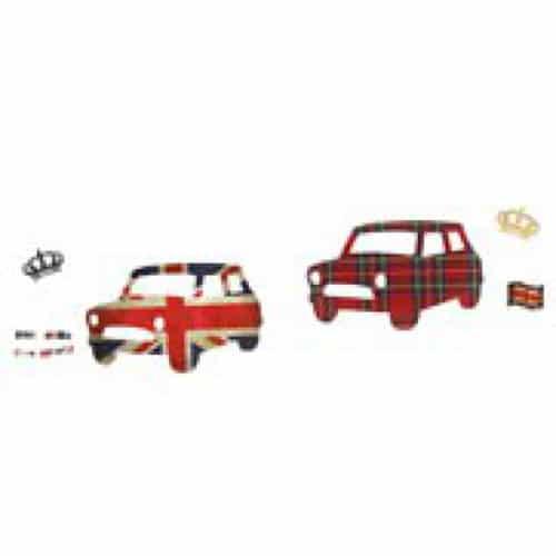 stickers voitures aux couleur du Royaume-Uni avec des couronnes en hommage à la reine
