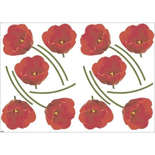 Déco adhésive fleurs - Sticker Tulipes Rouges pour déco intérieur