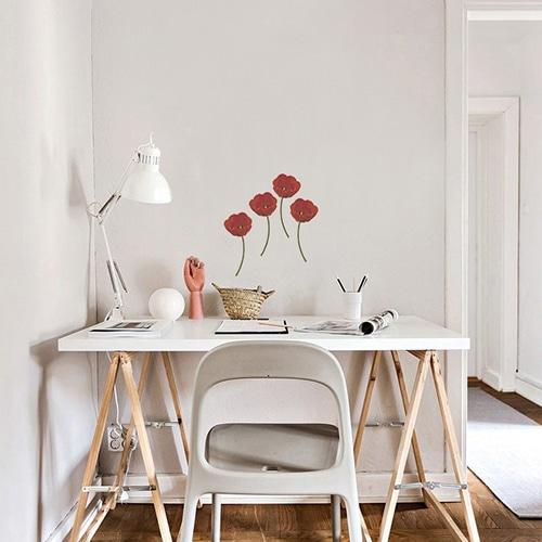 Sticker Tulipes Rouges pour déco bureau