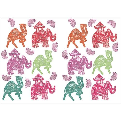 Lot d'autocollant d'éléphants et dromadaires colorés prêt à coller