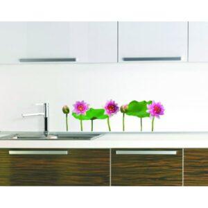 stickers Nénuphars vert et rose dans une cuisine
