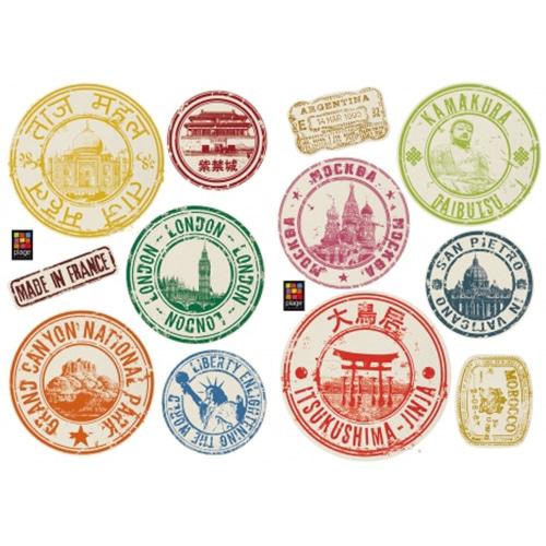 Stickers déco voyage et aventure avec 12 stickers tampons de passeport colorés et sympas.