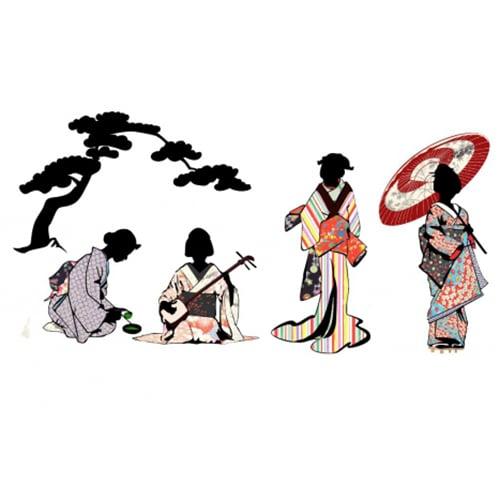 stickers silhouettes japonaises